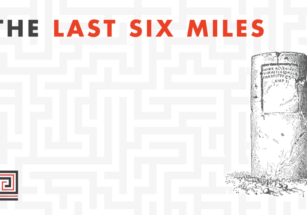 Blog title on a grey and white maze patterned background; antique engraved image of a milestone
