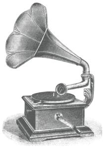 Antique engraving of a gramophone