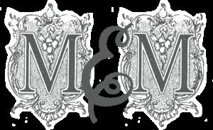 "Antique lettering that spells ""M&M"""