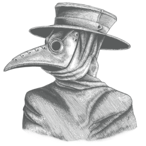 "Antique engraved illustration of person in a pointed ""plague doctor"" mask"