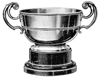 Vintage engraving of a silver trophy cup