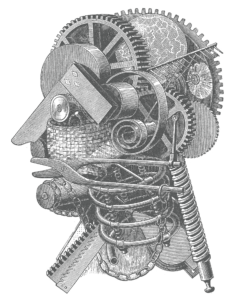 Antique engraved illustration of mechanical head