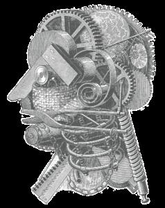 Antique engraved illustration of mechanical head