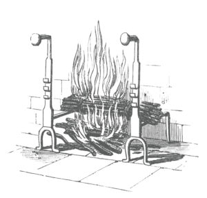 Antique engraved illustration of fireplace with burning fire