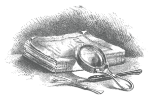 Antique engraved illustration of books, magnifying glass, tweezers and scalepel