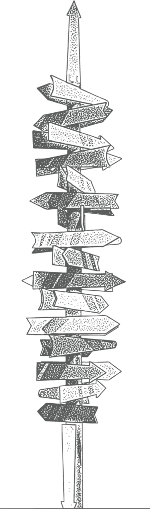 Line drawing of a sign post with multiple arrows