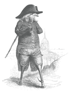 Antique engraved image of a parrot dressed as a pirate