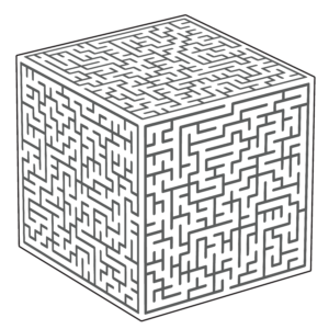 line drawing of a cube with mazes on each face