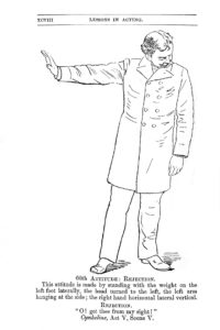 "Vintage line drawing of actor demonstrating the attitude of ""rejection"""