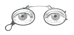 antique engraving of eyes in eyeglasses