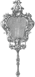 antique engraving of handheld mirror