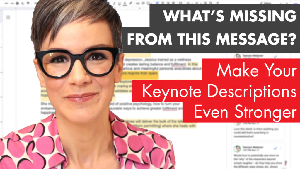 "Title card states ""What's Missing from this message? Make your keynote descriptions even stronger"""